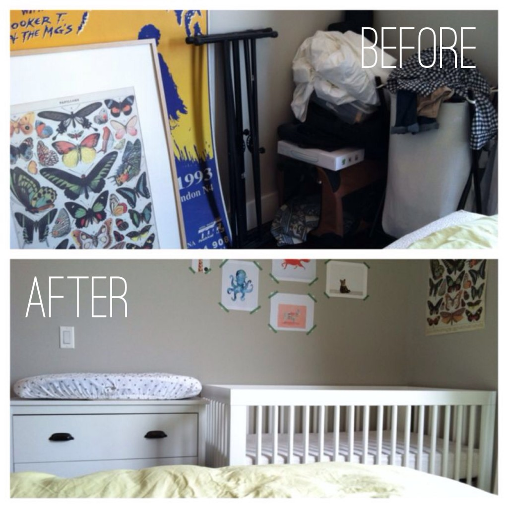 e before after bedroom corner
