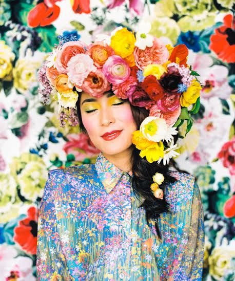 floral headpiece by Anna Korkobcova and Ivanka Matsuba